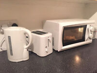 Microwave, toaster and kettle