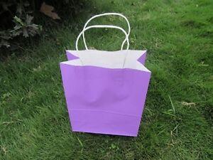 48 Bulk Kraft Paper Gift Carry Shopping Bag 22x16x8cm Purple