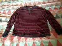 Mens Fat Face Grandad Navy Red Striped top sweatshirt Size Large