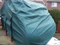 Green caravan cover, suits vans 17 - 19 ft, breathable, water resistant, 4 ply