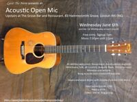 Open Mic at The Grove Hammersmith on Wed 6th June at 7:30pm