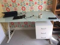 IKEA modern style desk with glass top