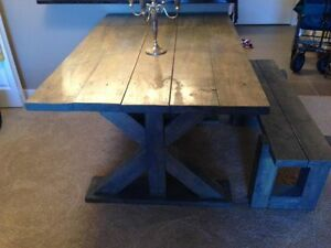 Gorgeous rustic hand made grey stained solid wood table w bench