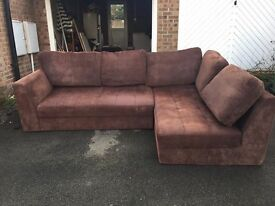 Extra large brown corner sofa and footstool - Pontllanfraith Collection.
