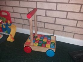 Wooden trolly and blocks