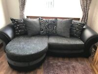 DFS Suite (4 seater sofa, large swivel cuddle chair and half moon footstool) - LIKE NEW