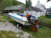 Ski boat 15 ft 60 hp suzuki outboard.