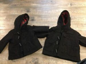 Childrens place black toggle coats one is 18m other is 24