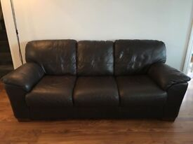 Dark Brown leather 2 & 3 seat sofas