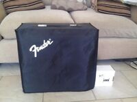 Fender Frontman 65R guitar amp with foot pedal and cover