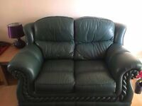 Dark green leather sofa and armchair (delivery available)