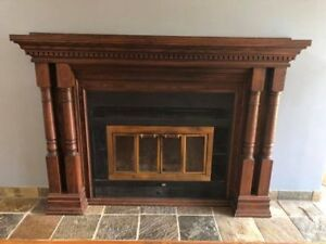 Solid Oak Mantle and Majestic Wood Burning Insert