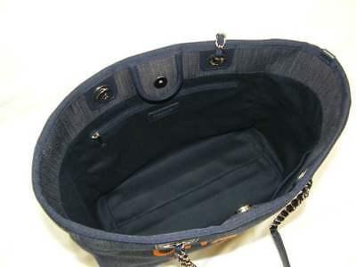Chanel deauville mm sac bandoulière jeans orange bleu chaîne sac à main