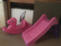 Little Tikes pink seesaw and small pink slide (sold separately)