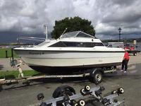 Sealine 18 Weekender boat with a Yamaha 80 tilt and trim motor. Including trailer