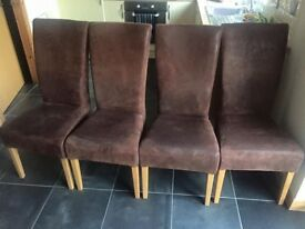 4 chocolate brown brushed leather dining chairs