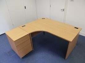 Beech Corner Office Desks with Matching Cabinets