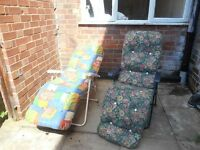 Cushioned Outdoor Reclining Chairs £25 for both ONO - Collection LE2 Deckchairs, Outdoor Furniture