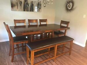 Solid wood pub height dining room table