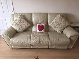 2 Cream Leather Sofas Suites Excellent Condition. 2 / 3 Seater