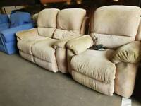 Beige fabric electric recliner two seater + armchair
