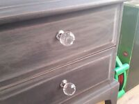 grey painted shabby chic dressing table with glass crystal handles for sale