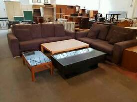 Brown twin two seater sofa suite