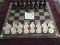 Traditional Chess Set with Glass Board And 32 Glass Frosted Pieces-Proceeds To Local Group Fund