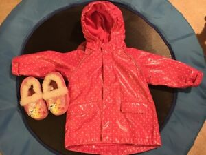 Girls 18 month rain jacket and 7/8T princess slippers