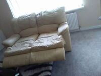 Selling ivory leather sofa set