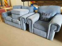 Light blue fabric 2 seater sofa with chair