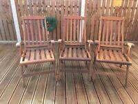3 Teak Recliner Garden Chairs