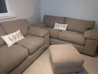 Three and Two Seater Sofas with Footstool