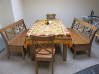 Beautiful solid pine dining set - 1 table, 2 benches with storage, 2 chairs - 400£