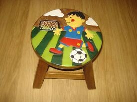 Childrens real wood handpainted football design mini stool.