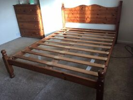 PINE WOOD 4FT6 DOUBLE BED FRAME