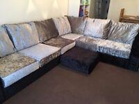 Large crushed velvet corner sofa