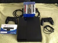 PS4 500GB, 9 Games, 2 Controllers, PS4 Camera. Only selling as a bundle.