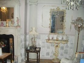 FRENCH VINTAGE STUNNING CONSOLE TABLE AND MIRROR CHERUBS