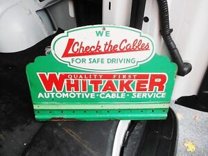 RARE PRESSED STEEL WHITAKERS AUTOMOTIVE ADVERTISING SIGN St. John's Newfoundland image 1