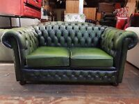 Lovely green 2 seater Chesterfield sofa