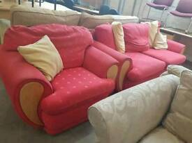 Red patterned fabric 2 seater sofa with matching armchair