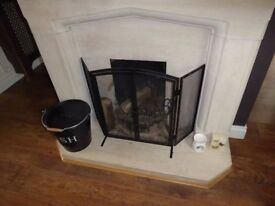 Used Portuguese limestone fireplace surround, mantelpiece & hearth