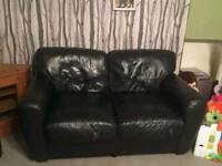 2 seats black leather sofa