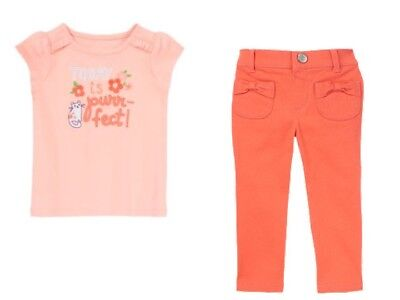 Gymboree Cherry Blossom Pink Kitty Today is Purrfect Tee Coral Pants Set 5T NWT Cherry Blossom Tee-set