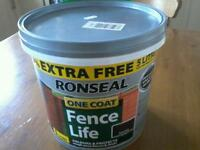 REDUCED NOW ■ £3 RONSEAL FENCE LIFE NEW 5LT DARK OAK
