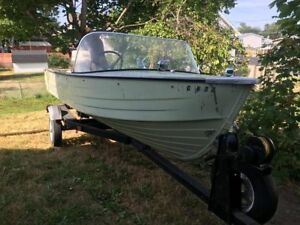 Classic 14ft MirroCraft Aluminum Boat 50hp outboard