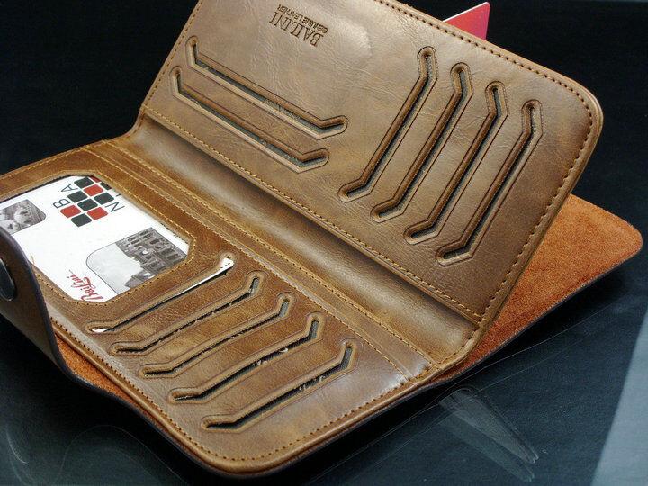 Men's Leather Wallet Bifold ID Card Holder Checkbook Long Clutch Billfold Purse 5