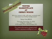 VENDORS WANTED For Winter Marketplace At Osprey Woods