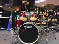 Premier cabria drum kit with Sabian cymbals and bags